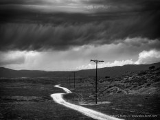 Monsoon clouds over a dirt road on the pastures of former Rancho Valle de San Jose, near Warner Springs, California. August 2014.