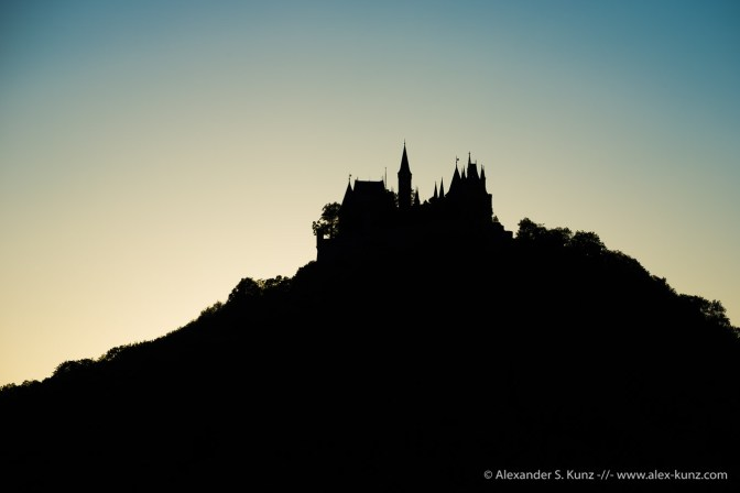 Silhouette of Hohenzollern Castle from Maria Zell chapel, Bisingen, Baden-Württemberg, Germany. June 2014.