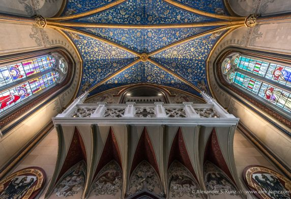 Ceiling and balcony in one of the chapels of Hohenzollern Castle, Bisingen, Baden-Württemberg, Germany. June 2014.