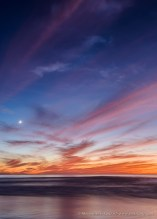 Lunar Waves at Sunset -- Seaside Beach, Cardiff By The Sea, California, United States