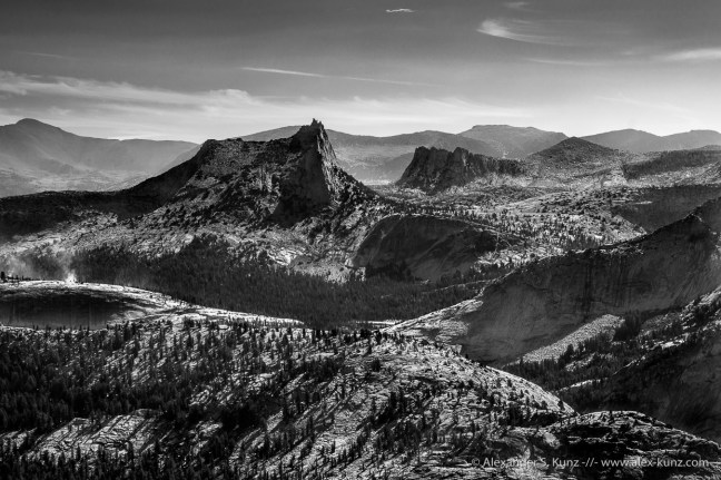 High contrast black & white photo of Cathedral Peak, seen from the Mount Hoffmann Trail, Yosemite National Park, California. September 2015.