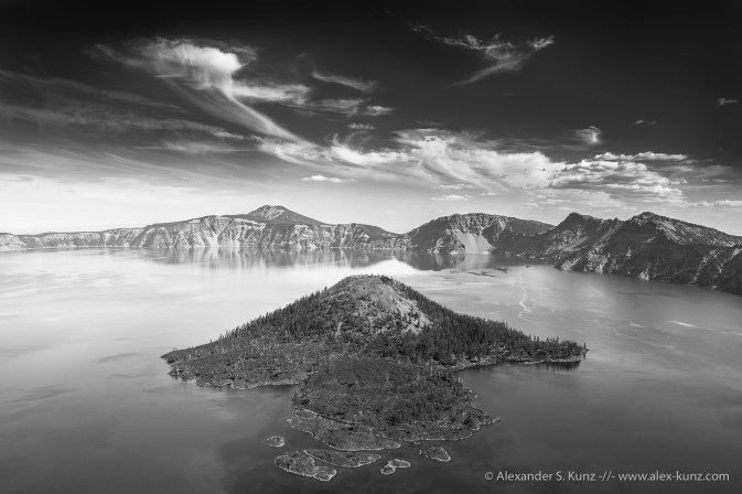 Wizard Island black & white -- Watchman Overlook, Crater Lake National Park, Oregon, United States
