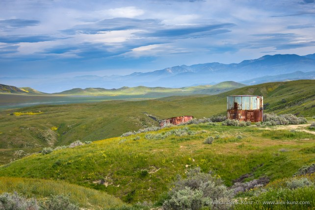 Old water tanks at the east-facing slopes of the Elkhorn hills, looking south over Elkhorn Plain, Elkhorn Hills, Carrizo Plain National Monument, California, April 2017.