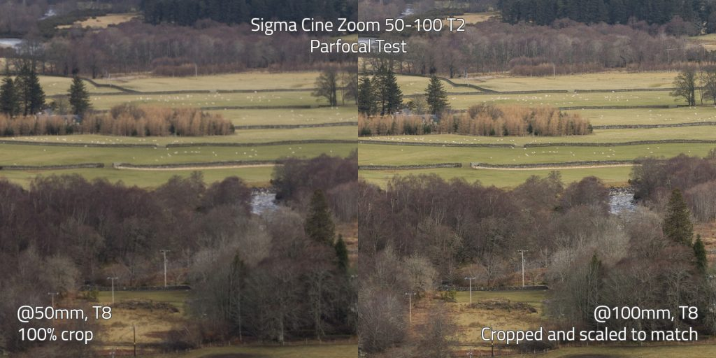 Sigma Cine Zoom 50-100 parfocal test