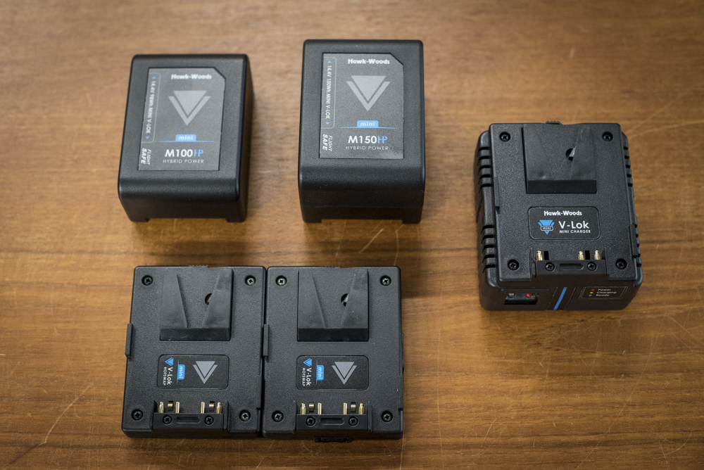 The Hawk-Woods VL-M98 and VL-M150 batteries, VL-MX1 charger and VL-MCF1 dual V-Mount plate