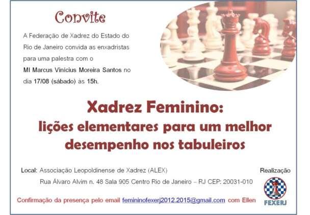 Convite para a palestra Xadrez Feminino
