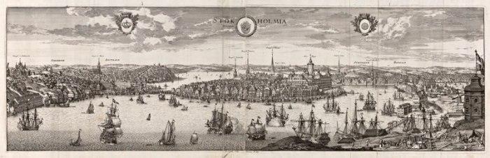 Suecia antiqua et hodierna: Stockholm in vogelvluchtperspectief. Willem Swidde. Gravure 24 x 78 cm, KB Stockholm