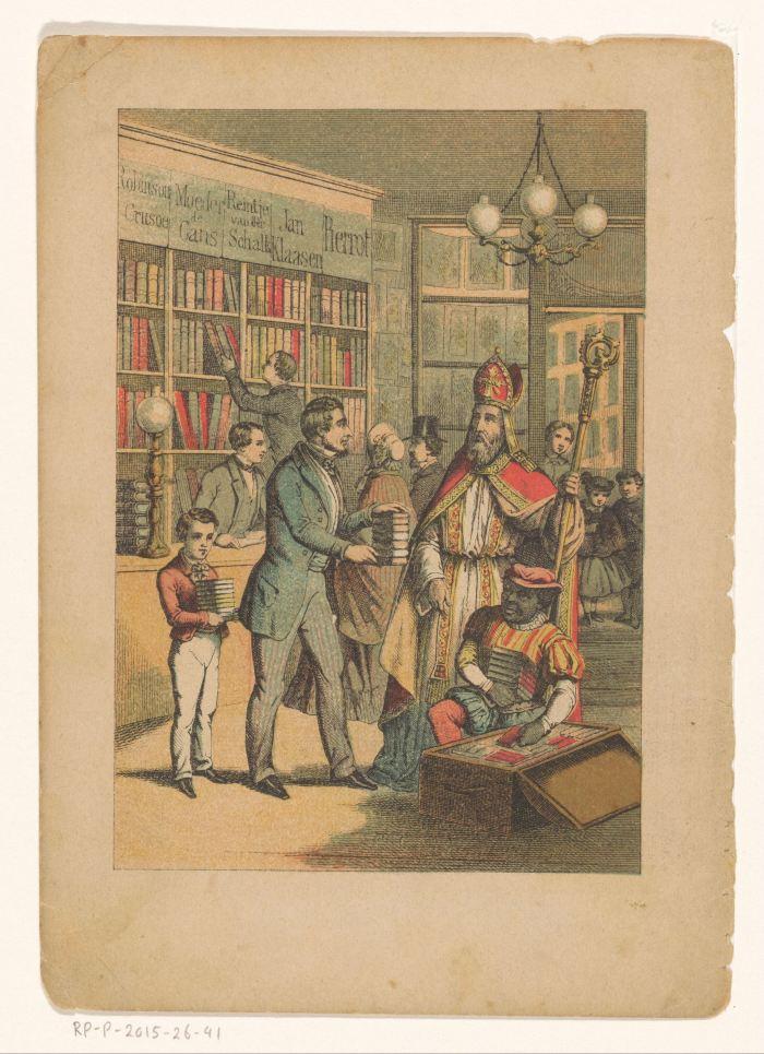 Sinterklaas in een boekhandel