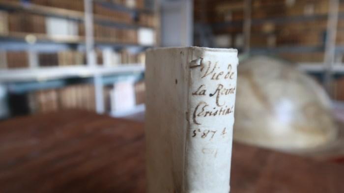 Parchment binding of Histoire de la vie de la reyne Christine de Suede