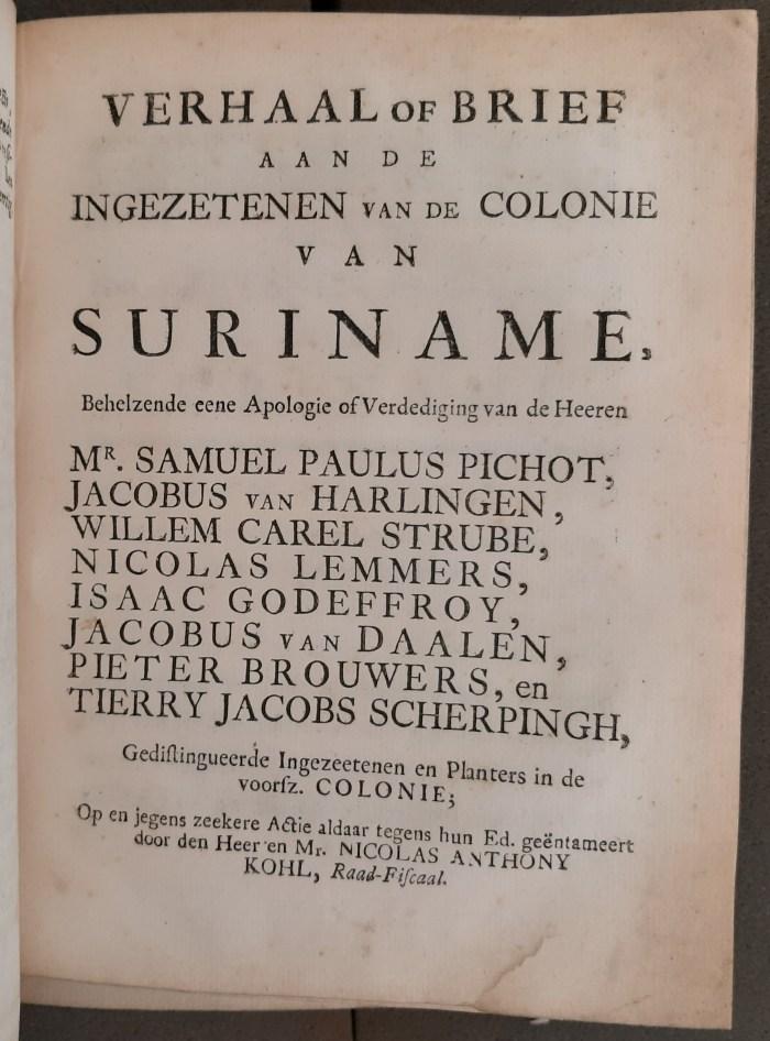 Title-page of Verhaal of brief aan de ingezeten van de colonie van Suriname (c. 1749)