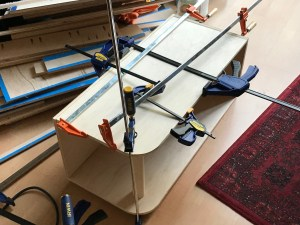 """Gluing up one of the """"foot boxes"""""""