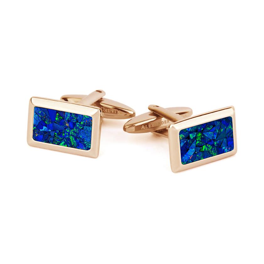 Le Tableau • Rose Gold Plated Sky Opal Cufflinks