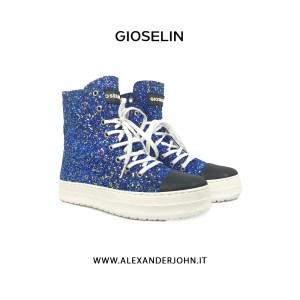 GIOSELIN DONNA |  2807 SNAEAKER ALTA MULTICOLOR GLITTER BLUE
