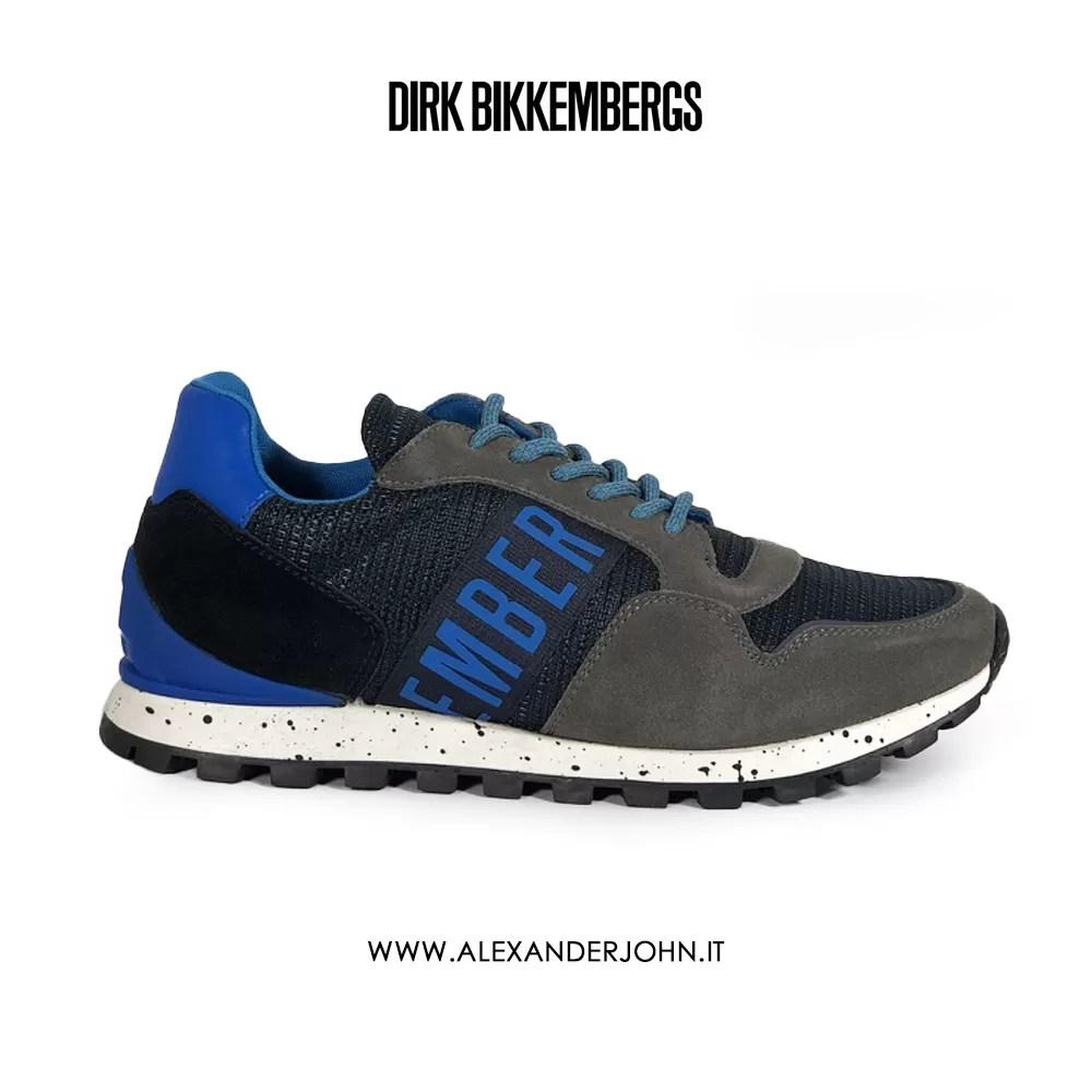 BIKKEMBERGS UOMO FENDER 2356 LOW SHOE M FABRICSUEDE BLU BLUE DK GRAY BKE109199