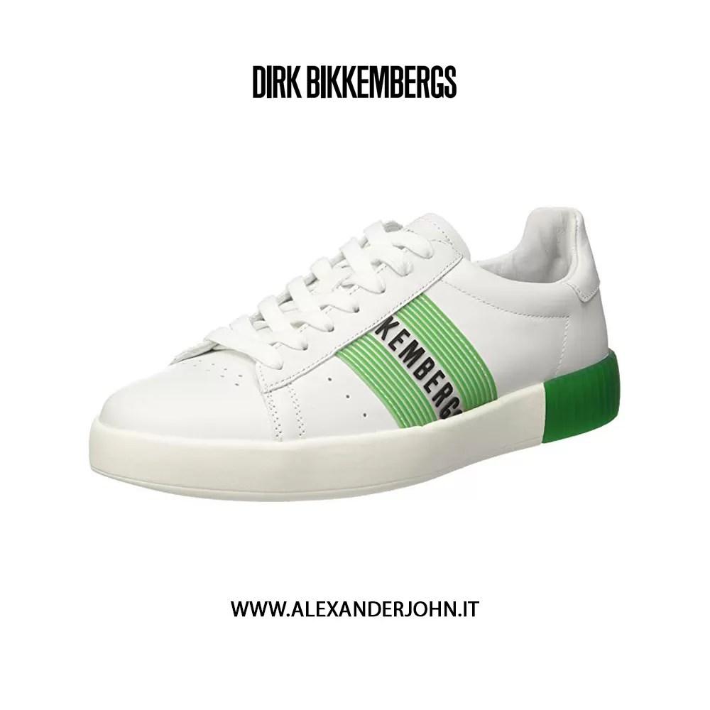 BIKKEMBERGS UOMO COSMOS 2096 LOW SHOE M LEATHER WHITE GREEN PELLE BIANCO VERDE BKE109032