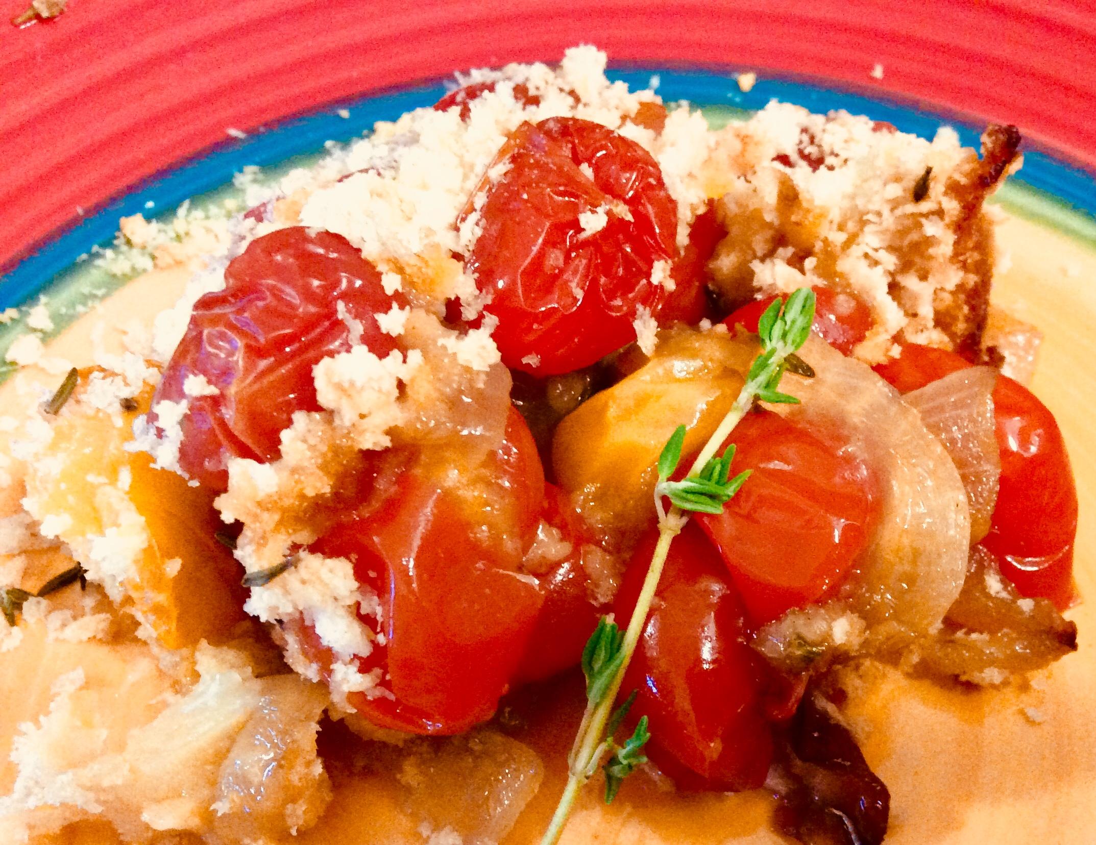 Heirloom Cherry Tomato and Thyme Crisp from Alexandersmom.com
