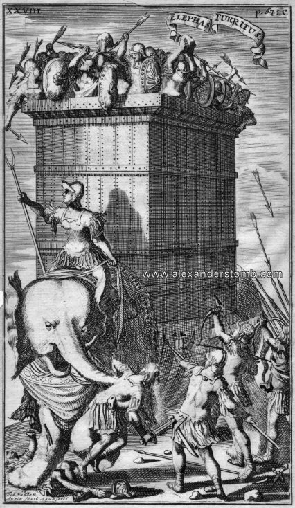Indian war elephant against Alexander's troops by Johannes van den Avele, 1685