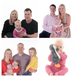 Four family photos taken over the course of four years