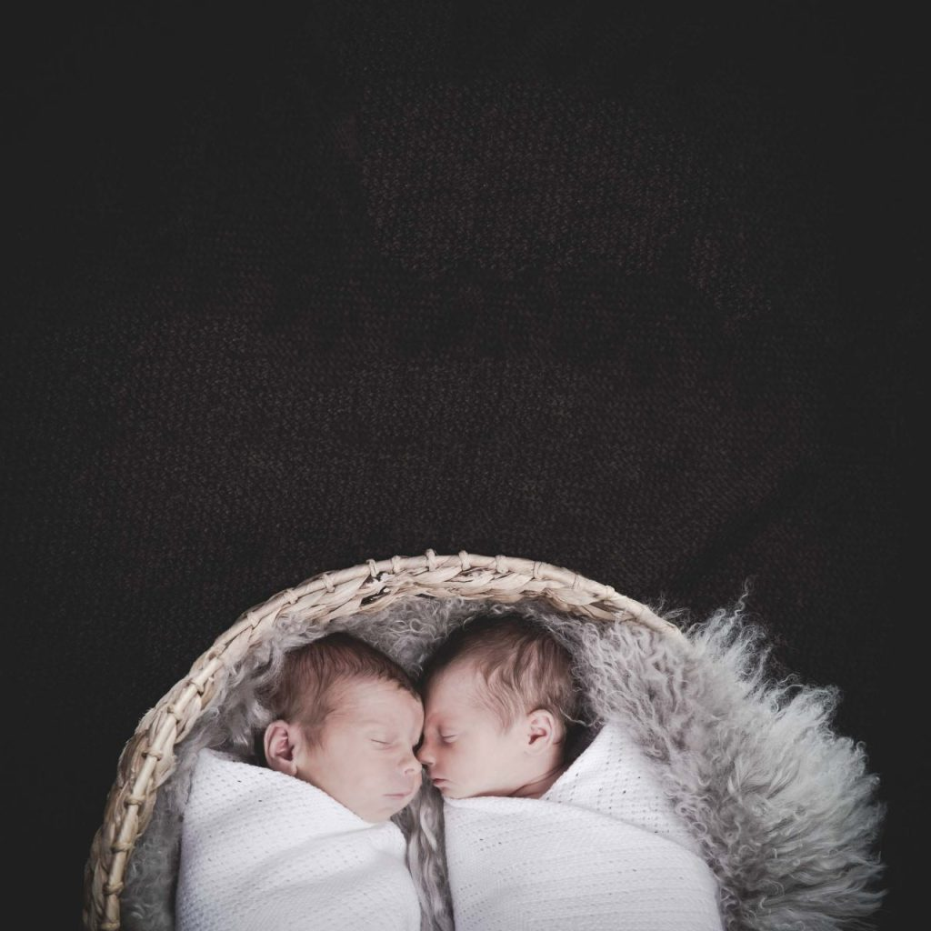 Photograph of twins asleep in a basket