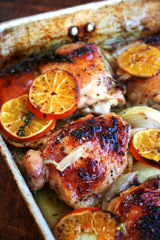 Pollo asado de Jerusalén con las clementinas