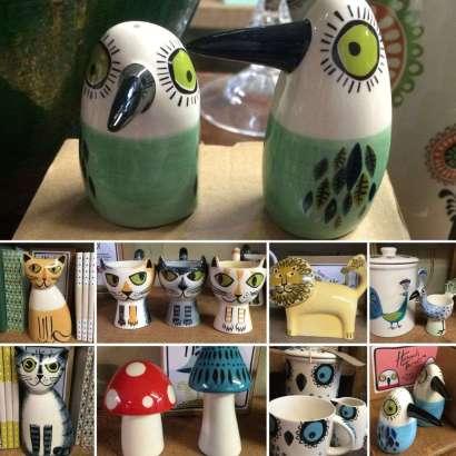 Ceramic salt & pepper shakers, egg cups, money boxes & mugs