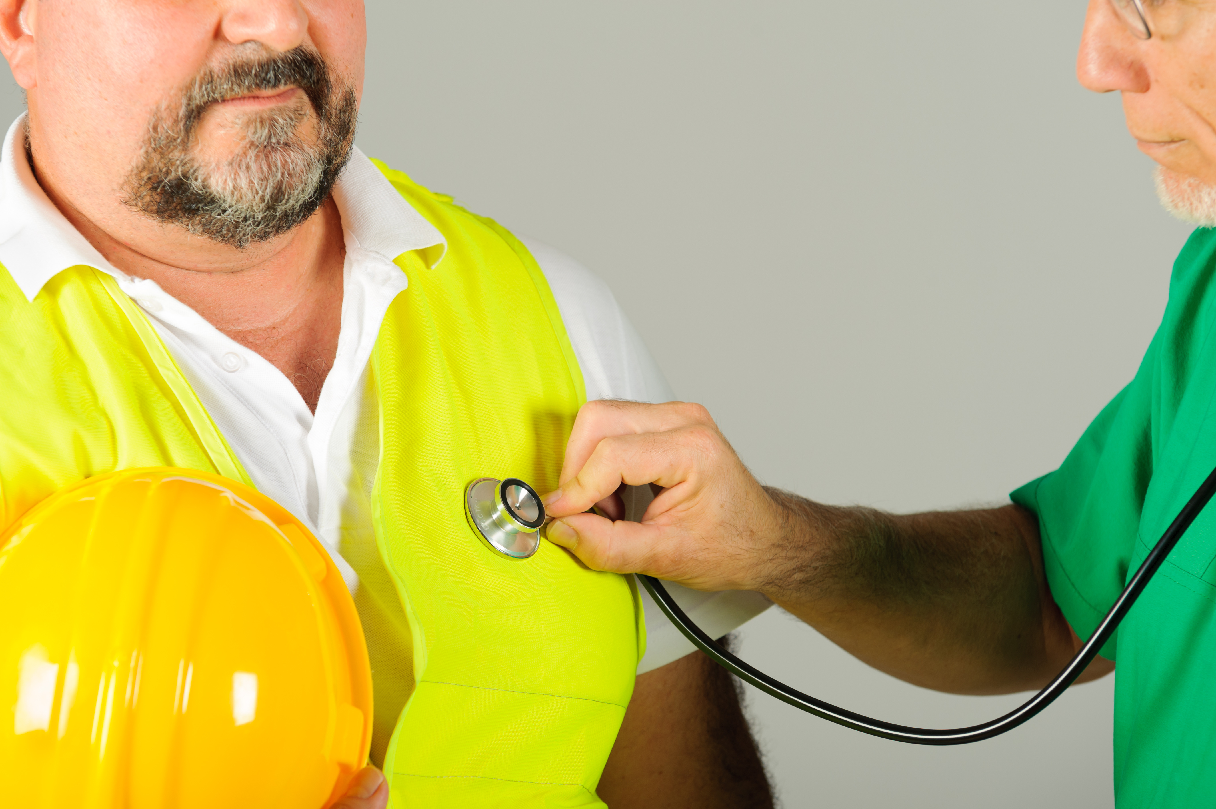 hard hat labor at medical doctor examination isolated background