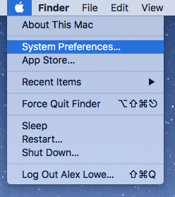 Go to system Preferences from the  in the top left of the screen.