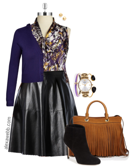 Plus Size Outfit Idea - How to Wear Plus Size Leather Skirts ...