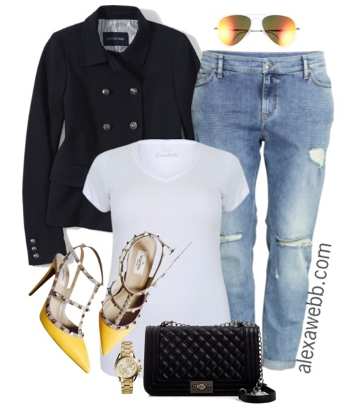 Plus Size Casual Outfit Idea - Plus Size Boyfriend Jeans and a Tee - Plus Size Fashion for Women - alexawebb.com #alexawebb #plus #size