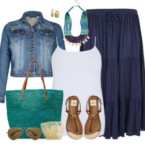 Plus Size Blue Maxi Skirt Outfit - Plus Size Fashion - alexawebb.com
