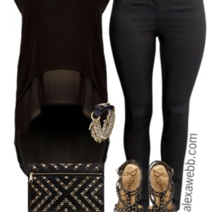 Plus Size Black & Gold Outfit - Plus Size Outfit Idea - Plus Size Fashion - alexawebb.com