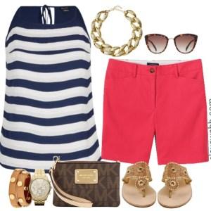 Plus Size Bright Shorts & Stripes Outfit - Plus Size Fashion - alexawebb.com