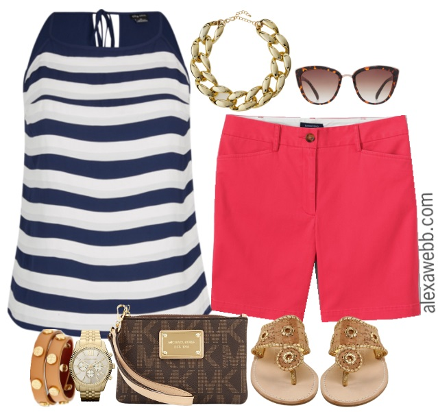 Plus Size Bright Shorts & Stripes Outfit - Plus Size Fashion - alexawebb.com