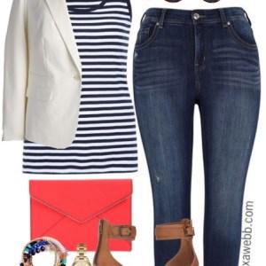 Plus Size Stripes & White Blazer Outfit - Plus Size Fashion for Women - Plus Size Outfit Idea - alexawebb.com