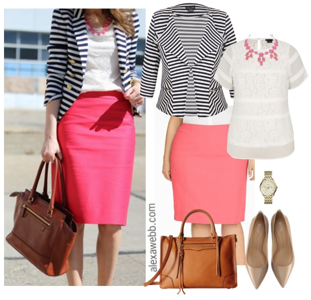 ed9a6eb9cfd Straight Size To Plus Size – Striped Blazer   Pink Skirt Outfit - Plus Size  Fashion