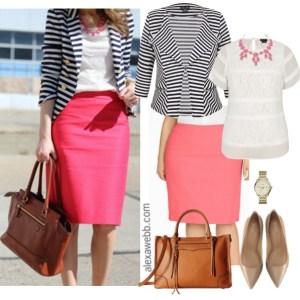 Straight Size To Plus Size – Striped Blazer & Pink Skirt Outfit - Plus Size Fashion - alexawebb.com