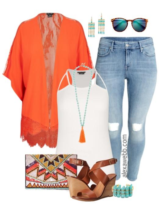 Plus Size Orange Kimono Outfit - Alexa Webb