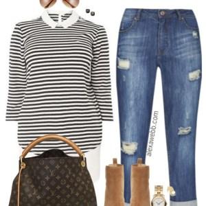 Plus Size Stripes & Booties Outfit - Plus Size Fashion for Women - alexawebb.com #alexawebb