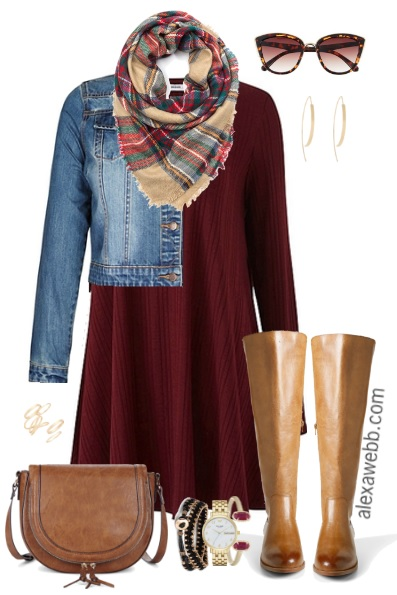 Plus Size Fall Swing Dress Outfit