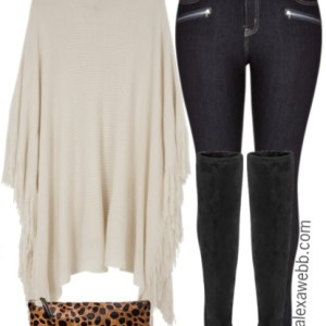 Plus Size Poncho & Over-the-Knee Boots Outfit - Plus Size Fashion for Women - alexawebb.com #alexawebb