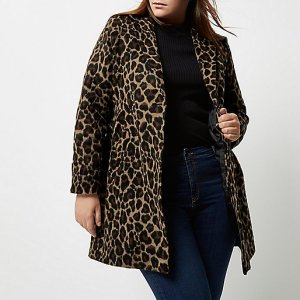 Plus Size Leopard Coat