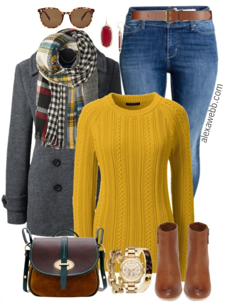 8484cf1e10a Plus Size Mustard Sweater Outfit - Plus Size Fashion for Women -  alexawebb.com