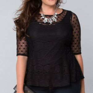 Plus Size Trendy Lace Top