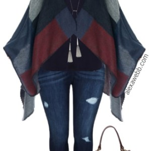 37ba3db5a64 Tag Archives  skinny jeans. Plus Size Color Blocked Poncho Outfit - Plus  Size Fashion for Women - Alexa Webb