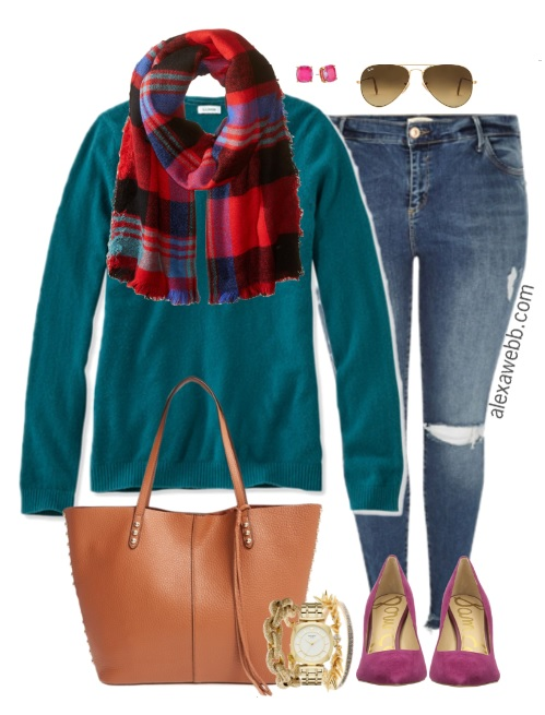 Plus Size Teal Sweater Outfit - Plus Size Fashion for Women - alexawebb.com