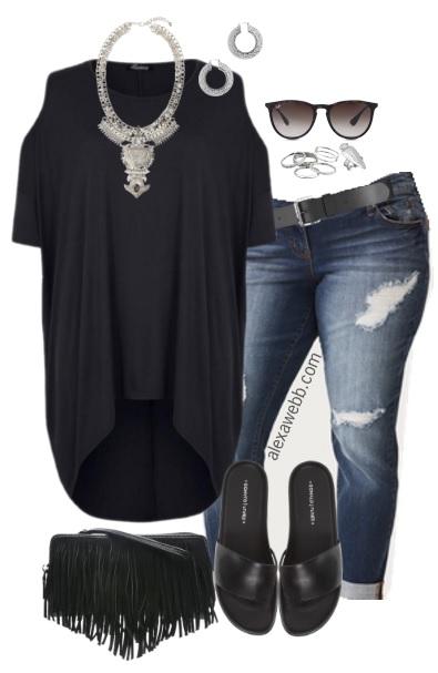 Plus Size Black Hi-Lo Tee Outfit