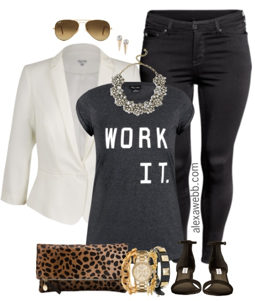 Plus Size White Blazer Outfit - Plus Size Fashion for Women - alexawebb.com #alexawebb