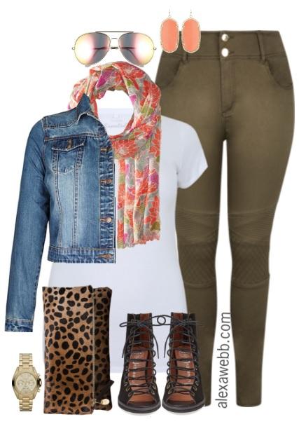 Plus Size Khaki Moto Jeans Outfit - Plus Size Spring Outfit Idea - Plus Size Fashion for Women - alexawebb.com