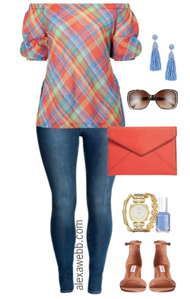 Plus Size Plaid Off-the-Shoulder Top Outfit - Plus Size Summer Outfit - Plus Size Fashion for Women - alexawebb.com #alexawebb