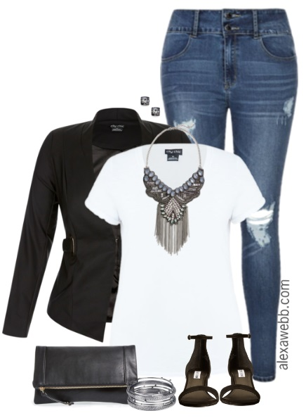 Plus Size Distressed Jeans Outfit - Plus Size Fashion for Women - alexawebb.com #alexawebb